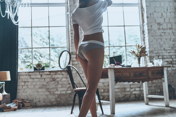 woman poses lower body